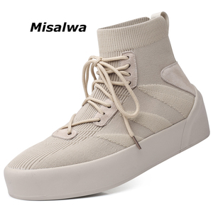 Image 1 - Misalwa Men Sock Shoes 38 45 High Top Casual Stretch Mens Vulcanize Shoe Winter Spring Lace Up Sneakers Flat / 2.5CM Increasing