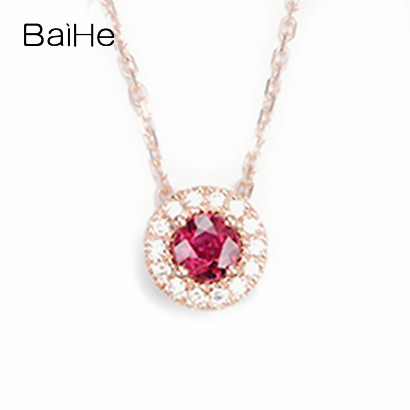 BAIHE Solid 18K Yellow Gold 0.30ct Certified Flawless 100% Genuine Natural Ruby Engagement Women Trendy Fine Jewelry Necklaces baihe solid 18k yellow gold au750 engagement