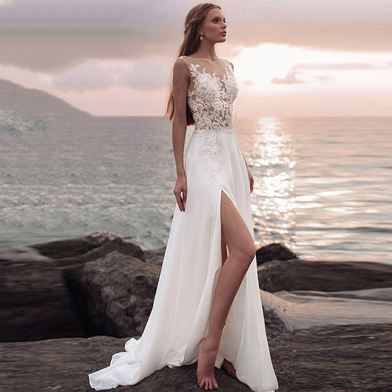 Eightree 2019 Lace Chiffon Beach Wedding Dress High Split Sleeveless Bridal Gown Appliques Aline Dresses Bride Illusion Back