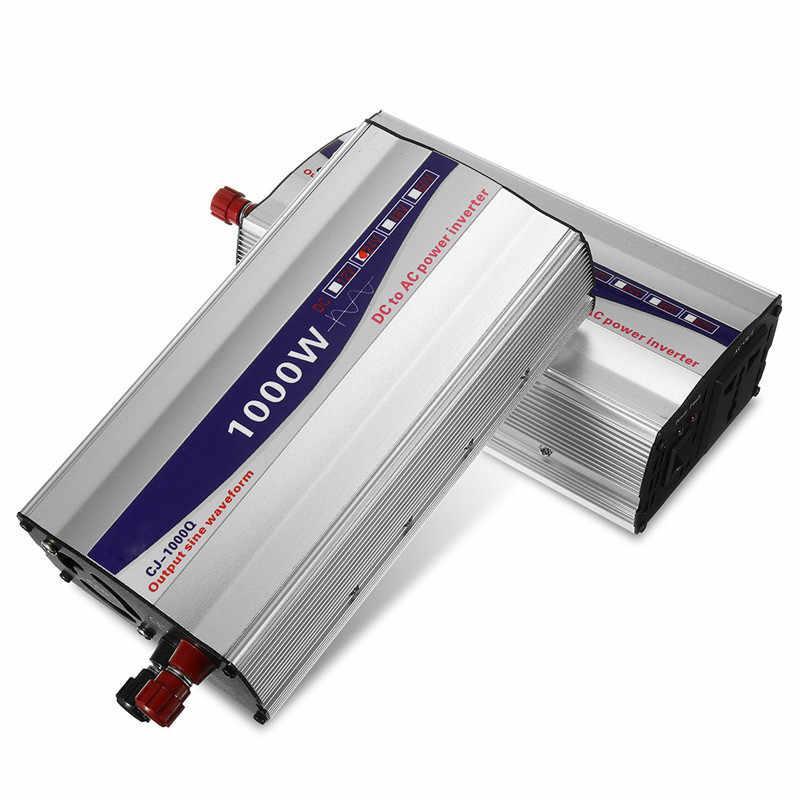 أسود 1Set LED عرض 1000 واط نقية شرط موجة عاكس الطاقة 12 فولت/24 فولت/48 فولت إلى 220 فولت محول محطة تزويد محولة للطاقة