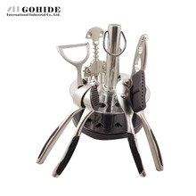 Gohide Red Wine Bottle Opener Sets Aluminum Alloy Openers Garlic Press Walnut Plier Can Opener Paring Knife Set Qt021 For Party