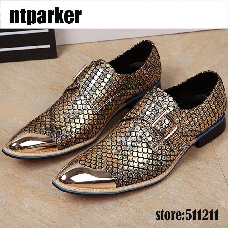 ntparker Luxury Mens Dress Leather Shoes Pointed Toe Fish Pattern Glitter Men