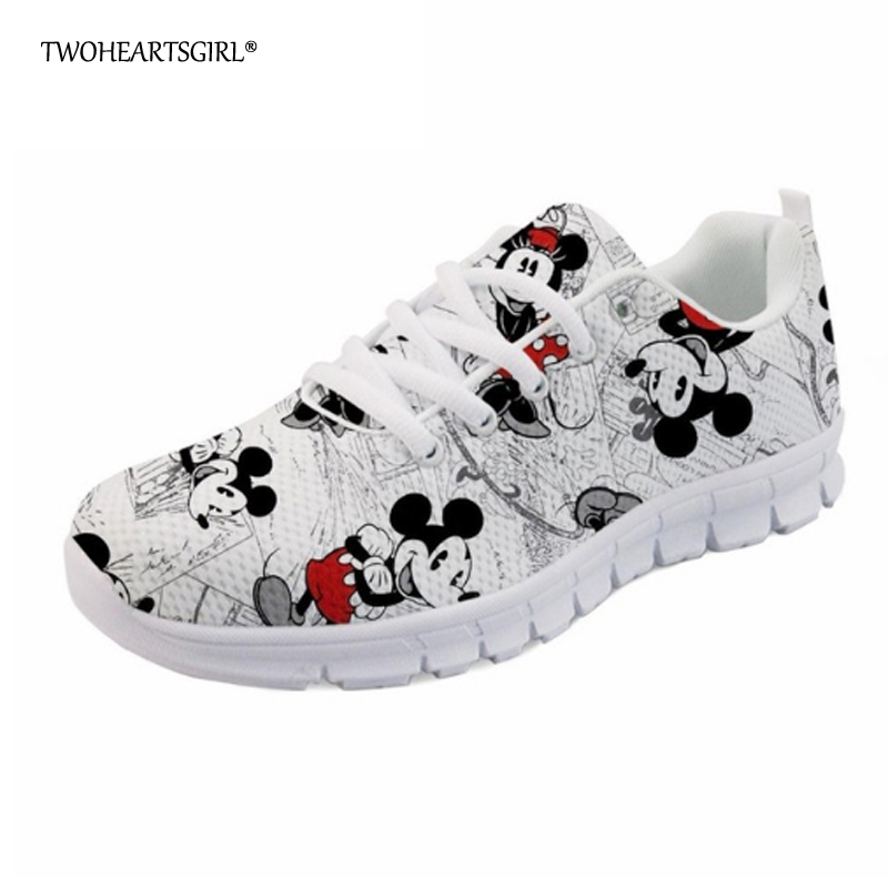 Twoheartsgirl Fashion Women Sneakers Printed Cute Cartoon Mouse Flat Shoes Casual Lace Up Female Ladies Mesh Shoes Zapatos plus 2018 new summer women casual shoes lace up woman sneakers breathable flat footwear female mesh shoes fashion dt926