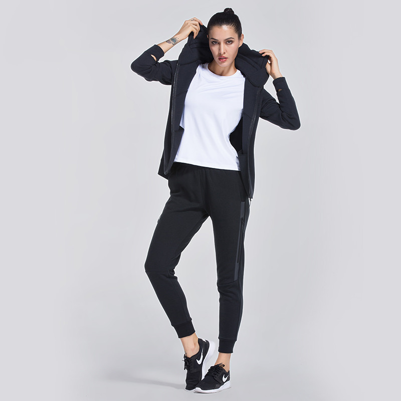 3 Pieces Set Black Cotton Women Running Jacket Sports Pants Sport Suit Fitness Training Clothing for Women Sportswear dg 87 fashion sports knitted cotton hoodie pants suit black s