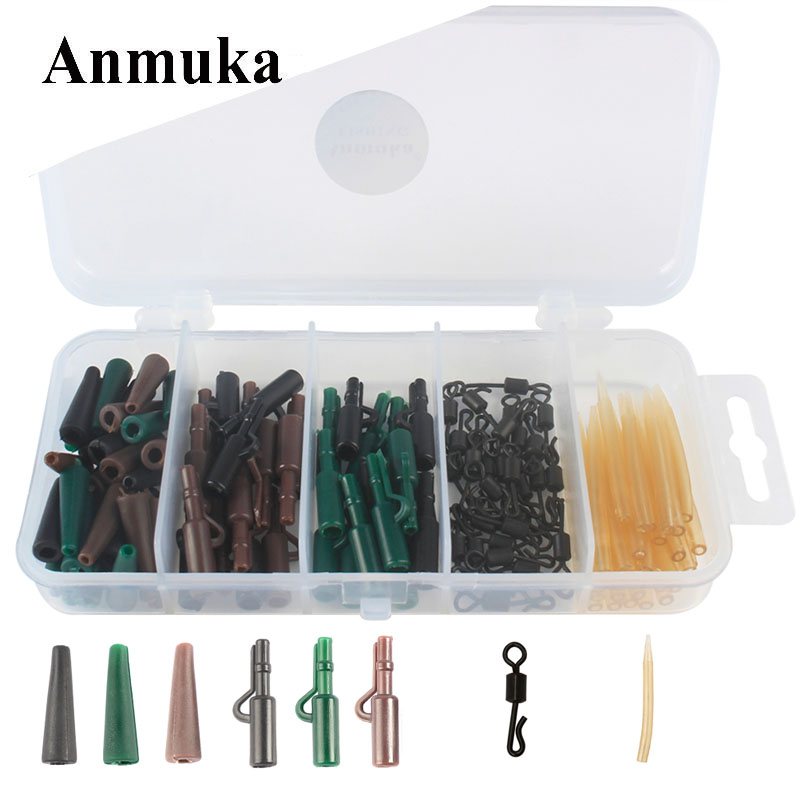 Anmuka 120Pcs Carp Fishing Accessories Anti Tangle Sleeves Tail Rubbers Safety Lead Clips Quick Change Swivels Set With Box