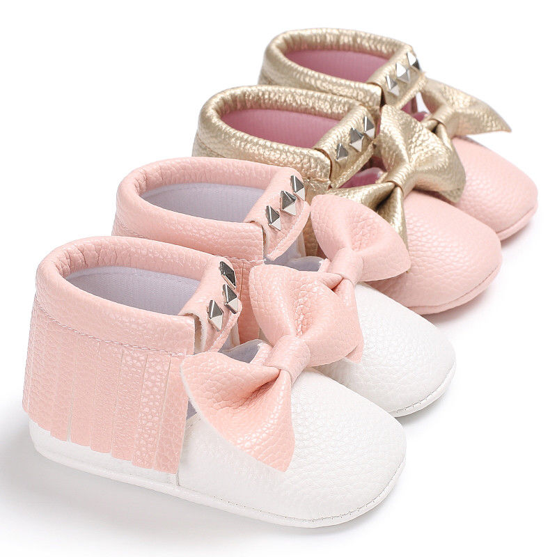 Cute Toddler Baby Girls Crib Shoes Infant Bow-knot Soft Sole Prewalker Shallow Fringe Shoes 0-18M