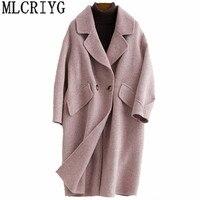 Корейский стиль Для женщин Шерстяное пальто 2018 Мода Двусторонняя шерстяные пальто Альпака Кашемировые Куртки осень зима женский пиджак YQ289