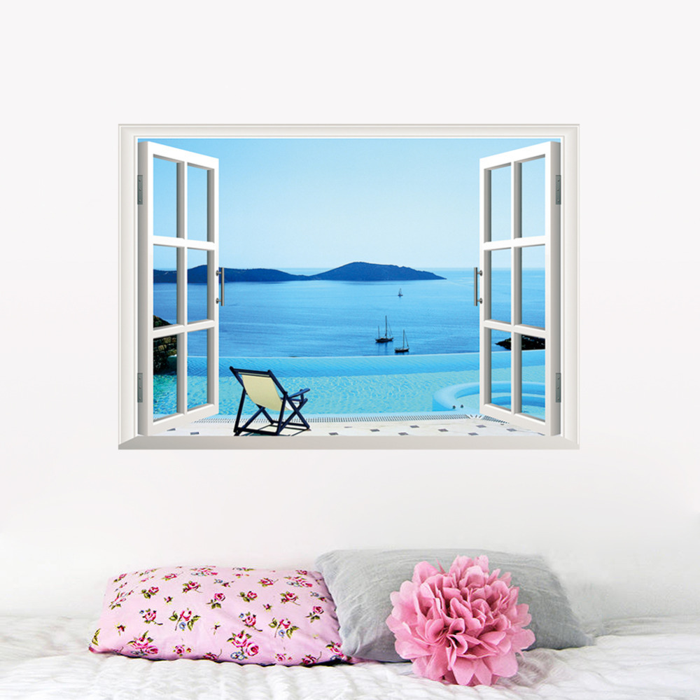 Bule Sea Ocean beach Window decoration removable wall sticker Vinyl Home mural for girls room bedroon kitchen Charming Decor