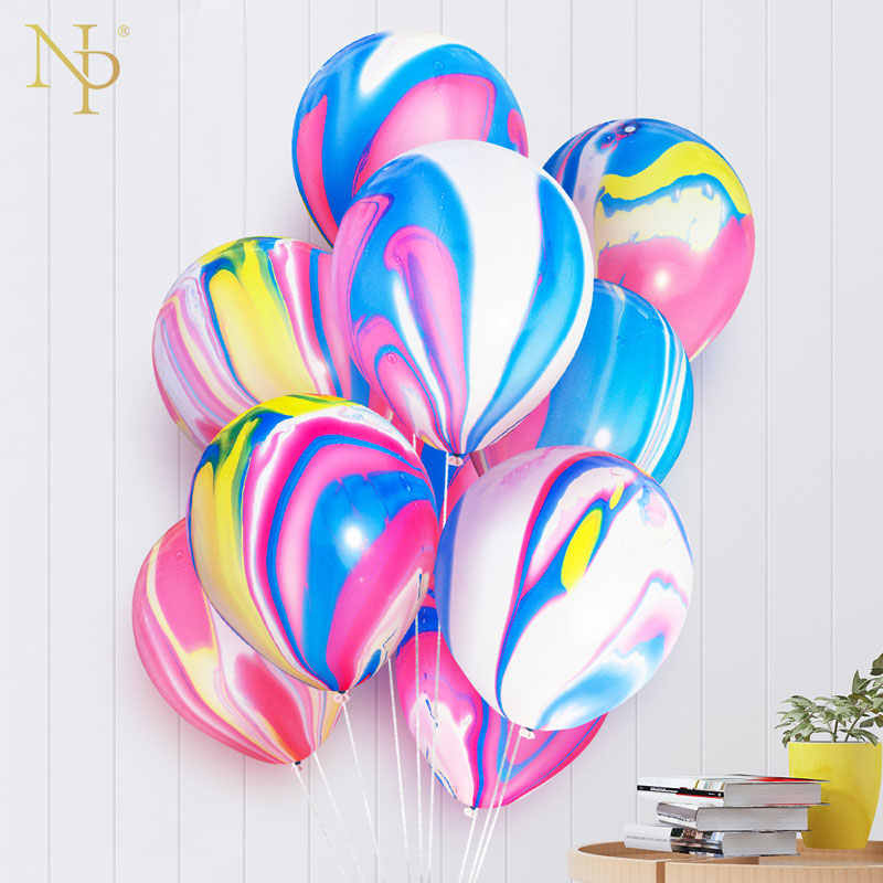 Nicro 5 10 pcs 10 inch Painting Agate Balloons Colorful Cloud Air Balloon Birthday Party Ballon Decoration  Balony Globos #Bal63