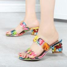 Women Sandals block heels handmade Rhinestone 2018 summer Slippers high Heels Sandals summer shoes for women plus size colorful