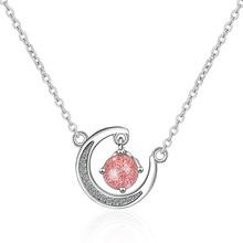 Strawberry pink crystal fresh moon short clavicle chain ins girl heart diamond pendant