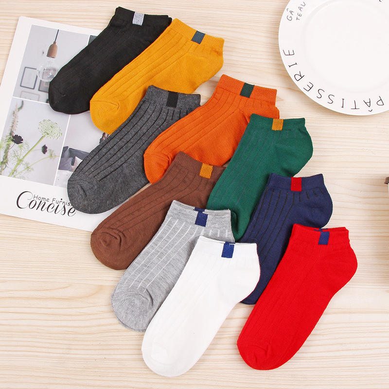 1 Pair Girls Basic Daily Ankle Socks 10 Colors Rib Cotton Colorful Label Top Unisex Men Women Fashion Summer Spring Low Cut Sox