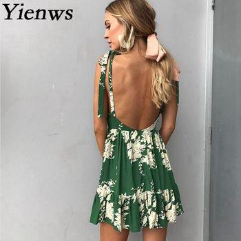 df760a7c69a Yienws Лето 2019 г. платье с цветочным принтом для женщин богемный пляжные  наряды Sexy бретелек спинки роковой повседневное сарафан YIT21
