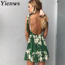Yienws 2018 Summer Print Flower Dress Women Bohemian Beach Dresses Sexy Strapless Backless Robe Femme Casual Sundress YIT21