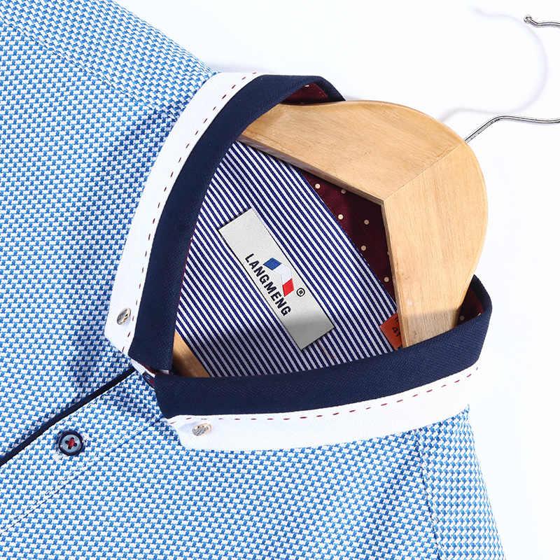 Langmeng 2017 新到着メンズ長袖ファッション 100% コットンフォーマルなドレスシャツ男性ブランド衣料スリムフィット