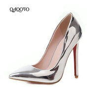 Gold Silver High Heels Women Shoes Fashion Patent Leather Thin High Heels Pumps Slip On Pointed Toe Party Dress Ladies Shoes
