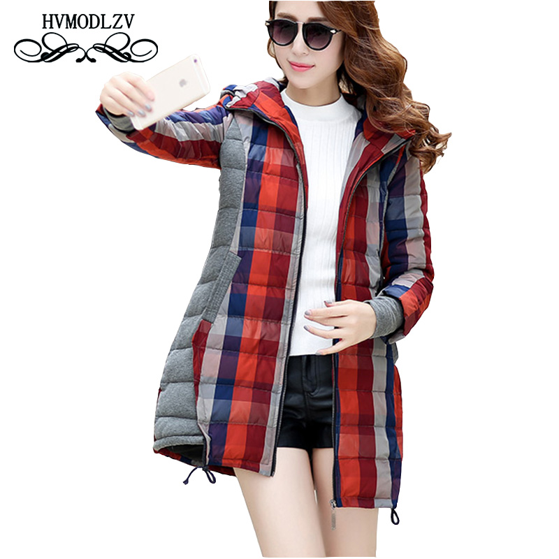 Jaqueta Feminina Inverno 2017 Winter Hot Women Cotton Jacket Fashion Warm Lattice Plus Size Casacos de inverno Feminino  LJ102