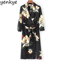 Women Floral Printed Vintage Wrap Dress Sexy Cross V Neck With Belt High Waist Midi Dress Casual Summer Dresses FFWM9342
