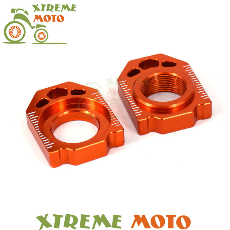CNC Orange Axle Block Chain Adjuster For KTM 125 150 250 300 350 450 530 SX SXF XC XCF EXC EXCF XCW XCFW Dirt Pit Bike Motocross control