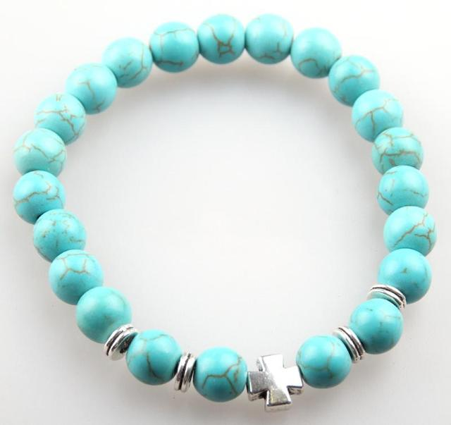 Bracelet pierre bleu turquoise homme