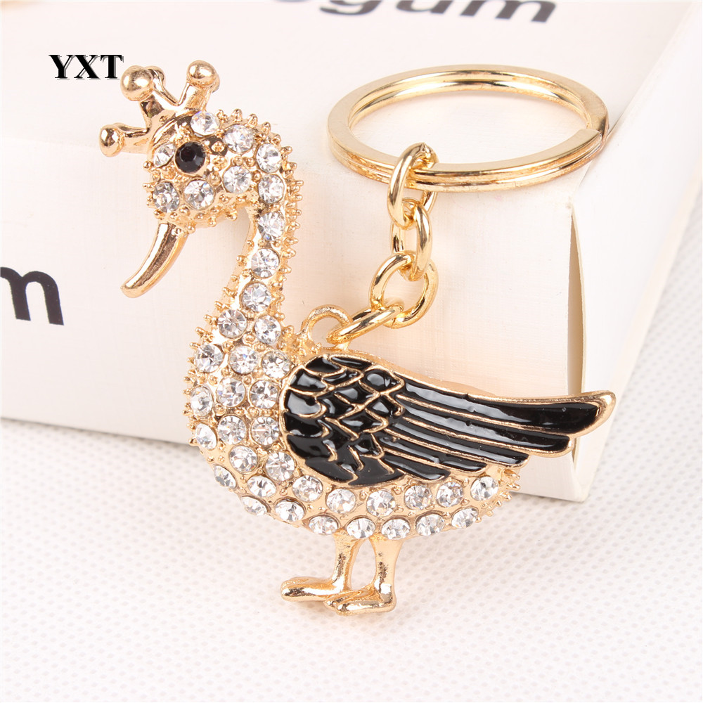 Duck Drake Goose Crown Cute Crystal Charm Pendant Purse Handbag Car Key Keyring Keychain Party Creative Lovely Gift handbag