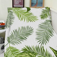 Blankets Cobertor Warmth Soft Plush Simple Green Tropical Plant Palm Leaves Sofa Bed Throw a Blanket Thick Thin Plaid