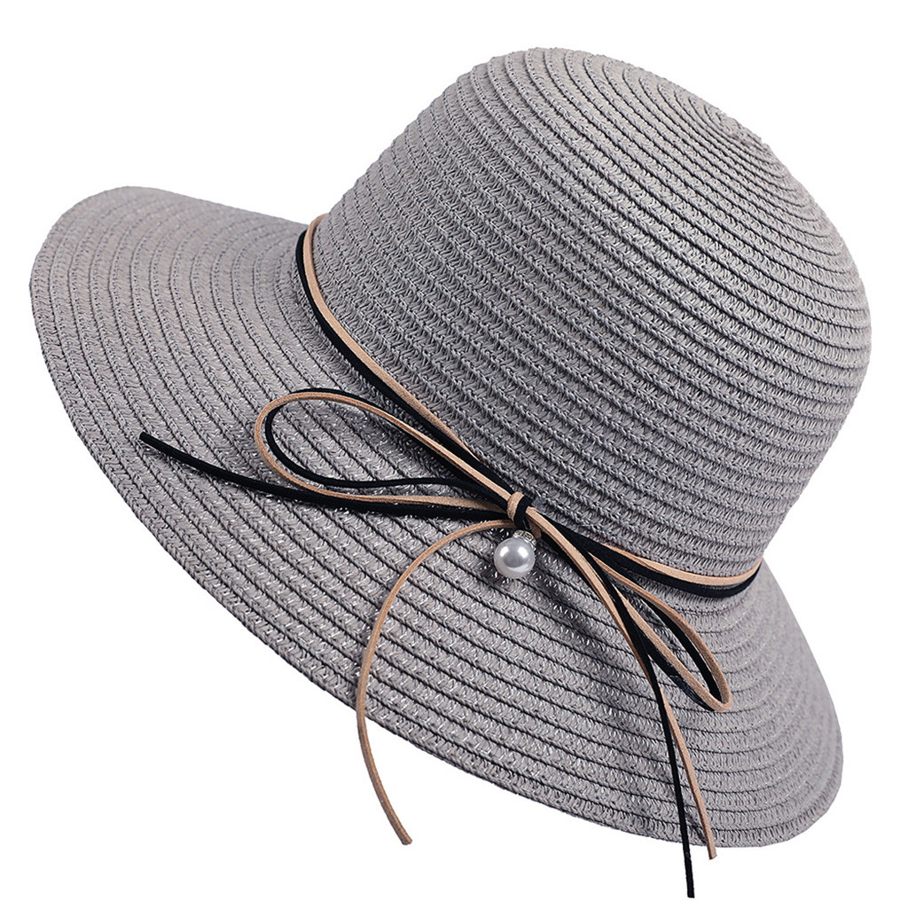 1 pcs Women Sun Hat Floppy Foldable Ladies Bow Straw Beach Sun Summer Hat Wide Brim Jazz Straw Hats