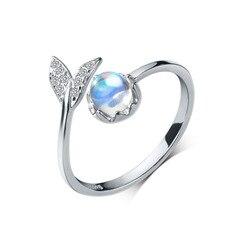 925 prata esterlina moda casamento jóias ajustável aberto cristal sereia anel para senhoras feminino dedo anel jz459