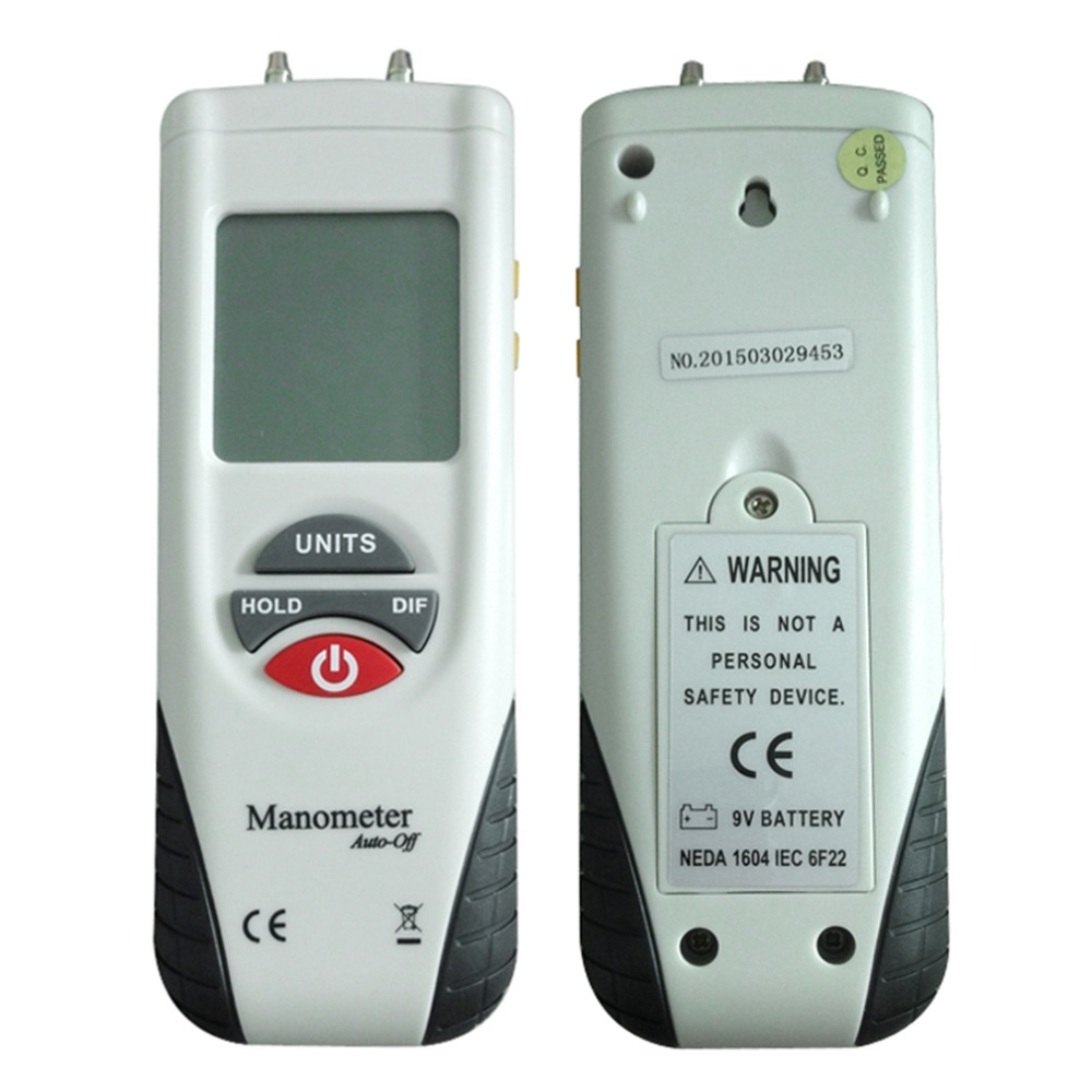 2018 Newest HT-1890 Large LCD Screen Display High performance Digital Manometer Handheld Air Pressure Meter White & Black цена