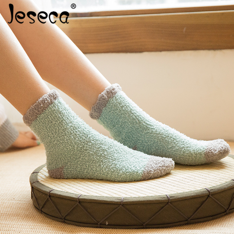 High Quality Women Winter Terry Cotton   Socks   Female Fashion Patchwork Coral Velvet Warm Thick Padded Home Floor   Socks