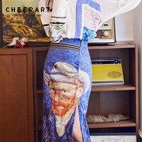 Cheerart Designer 2018 Van Gogh Print Bodycon Long Skirt Women Vintage High Waist Midi Split Skirt Open Crotch Ladies Skirts
