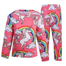 Hot sell  Kids Unicornio Costume Full Sleeve Unicorn Pajama Sets Children Home Wear Suits Winter Cotton Sleepwear For Boys/Girls pajama sets frutto rosso for girls tk117g044 sleepwear kids home suit children clothes