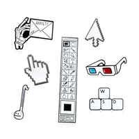 Computer Cursor Tool Brooch PS Toolbar Keyboard WASD Arrow Palm Cursor Indicator 3D Glasses Note Enamel Pin IT Worker Badge Gift