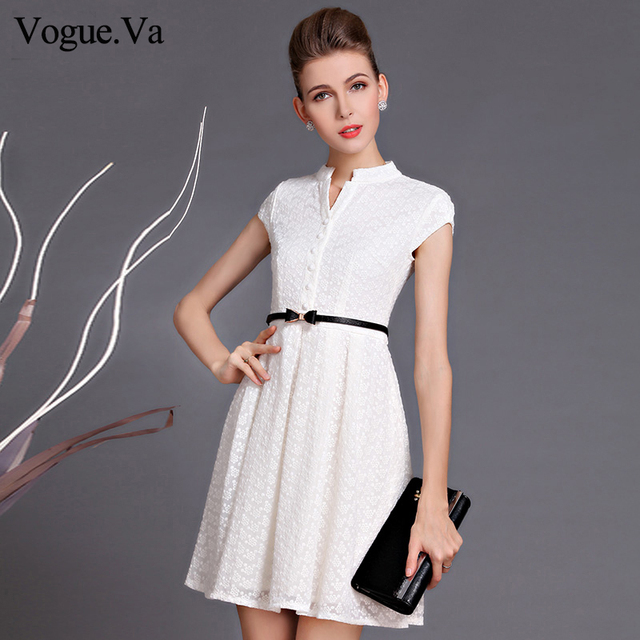 f663bb547e New Fashion 2018 Summer Elegant Office Lady Embroidery Stand Collar Short  Sleeve Slim White Lace A-line Women s One-piece Dress
