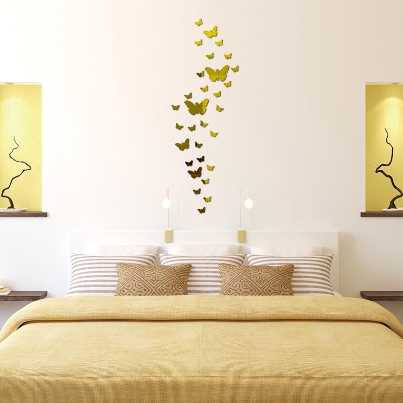 Diy Akrilik ayna duvar sticker kelebek Modern gerçek promosyon ev - Ev Dekoru - Fotoğraf 5