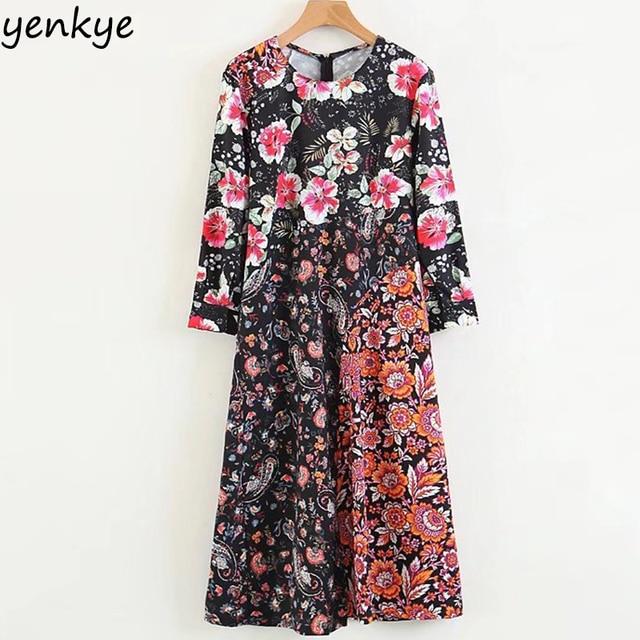 9f5373860 € 19.77 |En la primavera de 2018 mujeres Vintage Patchwork vestido  estampado cuello en O manga larga Midi siguientes vestido de verano Casual  ...