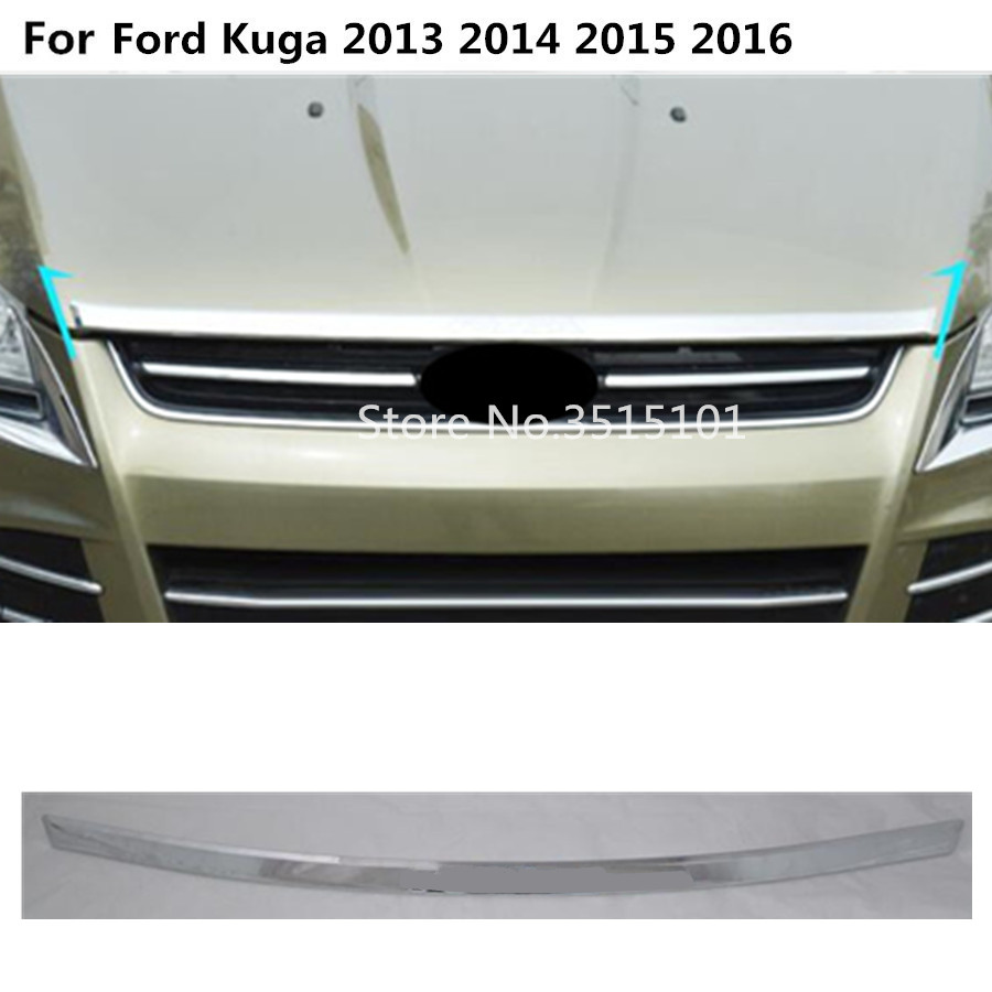 Car cover Bumper engine ABS Chrome trim Front Grid Grill Grille protect frame edge 1pcs For Ford Kuga 2013 2014 2015 2016 jgrt chrome rear window wiper cover trim for 2013 2014 2015 frod escape kuga new high quality chrome stickers trim car styling c