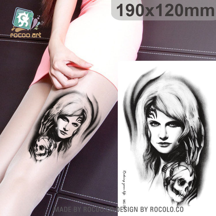 individuality waterproof temporary tattoos for men and women Wolf roar design large arm tattoo sticker Free Shipping SC2908 9