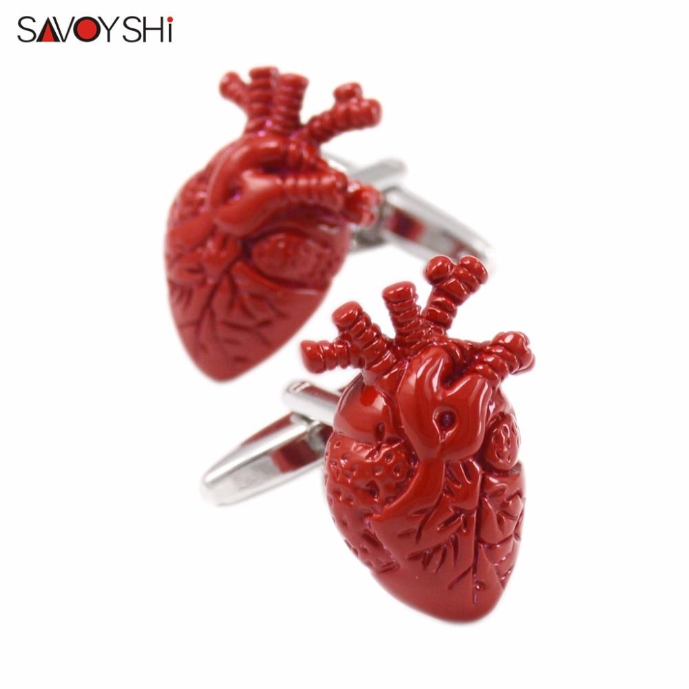 SAVOYSHI Novelty Heart organ Cufflinks for Mens Shirts Cuff bottons High Quality Red Enamel Cufflinks Fashion Brand Men Jewelry