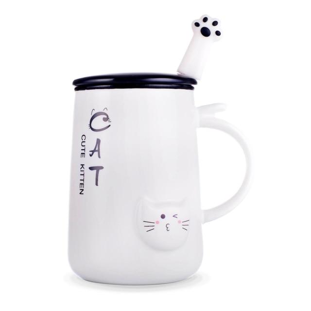 Cute Cat 400ml Ceramics Coffee Mug With Lid Milk Breakfast Mugs Home Office Cup Coffee Tea Cups