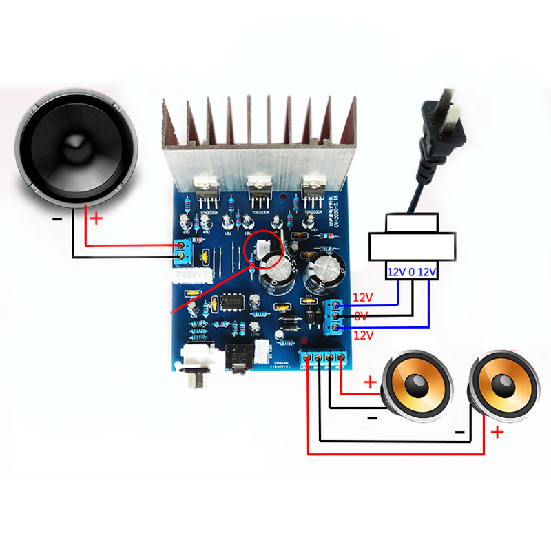 Module Amplifier Board Mould 2.1 Channel 2*18W w/Cable Audio Subwoofer TDA2030A Durable Useful Newest image