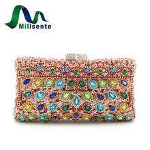 Milisente Brand Luxury Women Crystal Bags Multi Designer Bride Clutches Evening Purse Bridesmaid Wedding Party Shoulder Chain