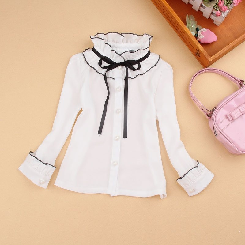 Spring Fall Ruffle Collar Girls White Blouse Chiffon Bow Tie Patchwork Big Girls Blouse Long Sleeve School Girl Shirt Kids Tops for asus x401a x501a hm70 sljnv b820 b940 laptop motherboard rev2 0 ddr3 pga989 mainboard 100