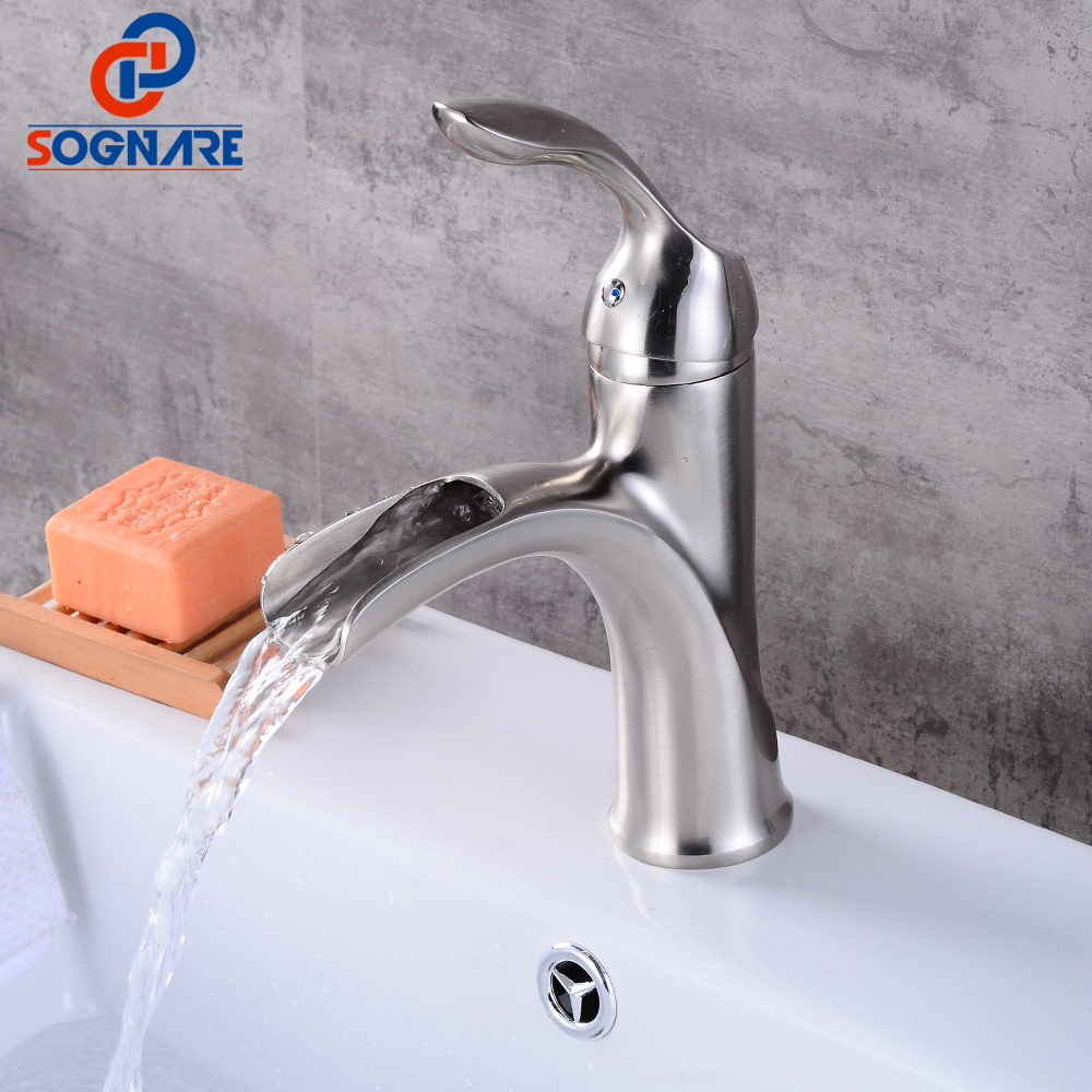 SOGNARE Waterfall Bathroom Basin Faucet Nickel Brushed Single Handle Single Hole Mixer Tap Deck Mounted Cold and Hot Water Taps newest washbasin design single hole one handle bathroom basin faucet mixer tap hot and cold water orb chrome brusehd