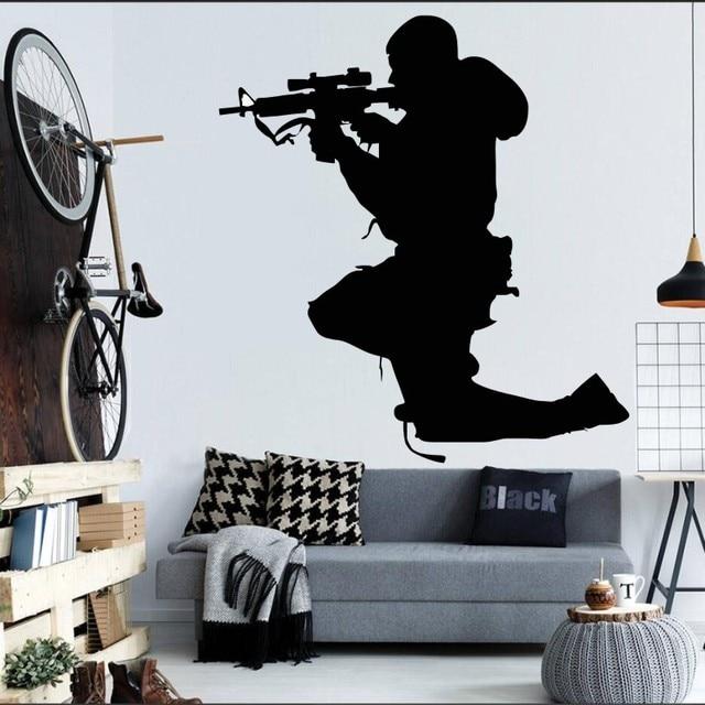 Mann Soldat Sniper Silhouette Wandbild Home Schlafzimmer Coole