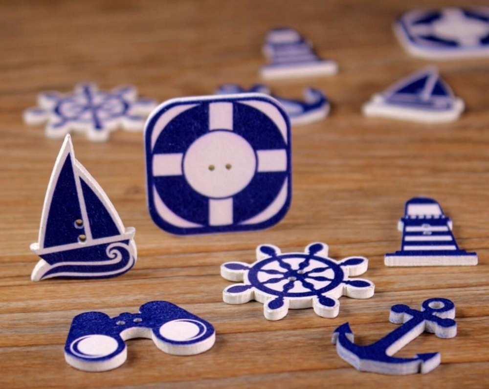 60pcs Blue Colors Wood Wooden 2 Holes Seafaring Logo Button For Clothes Sewing Jewelry Making Craft Handmade Project Accessory