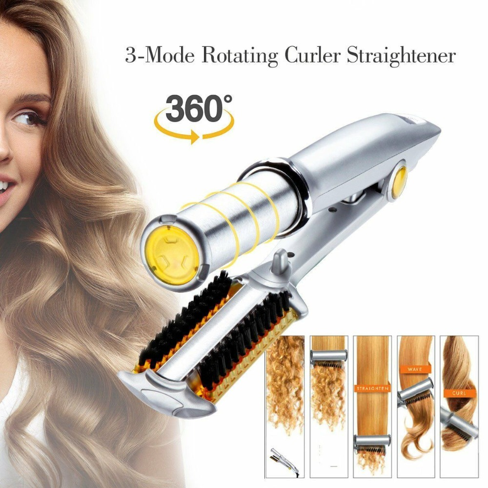 Pro 3 In 1 2-Way Rotating Curling Iron Hair Brush Curler Straightener New