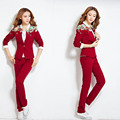 3 Piece Womens Tracksuit Set 2017 Fashion Floral Print Elegant Womens Suits with Pants Casual Trouser Suit Plus size Outfits