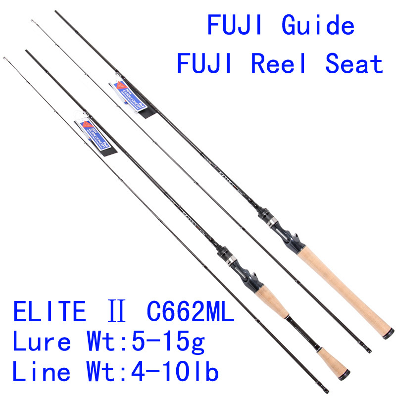 Tsurinoya Elite ELC-662ML 1.98m 105g Carbon Lure Rod Casting Fishing Rod FuJI Guide Reel Seat Bass Rod Pesca Tackles Soft Rods
