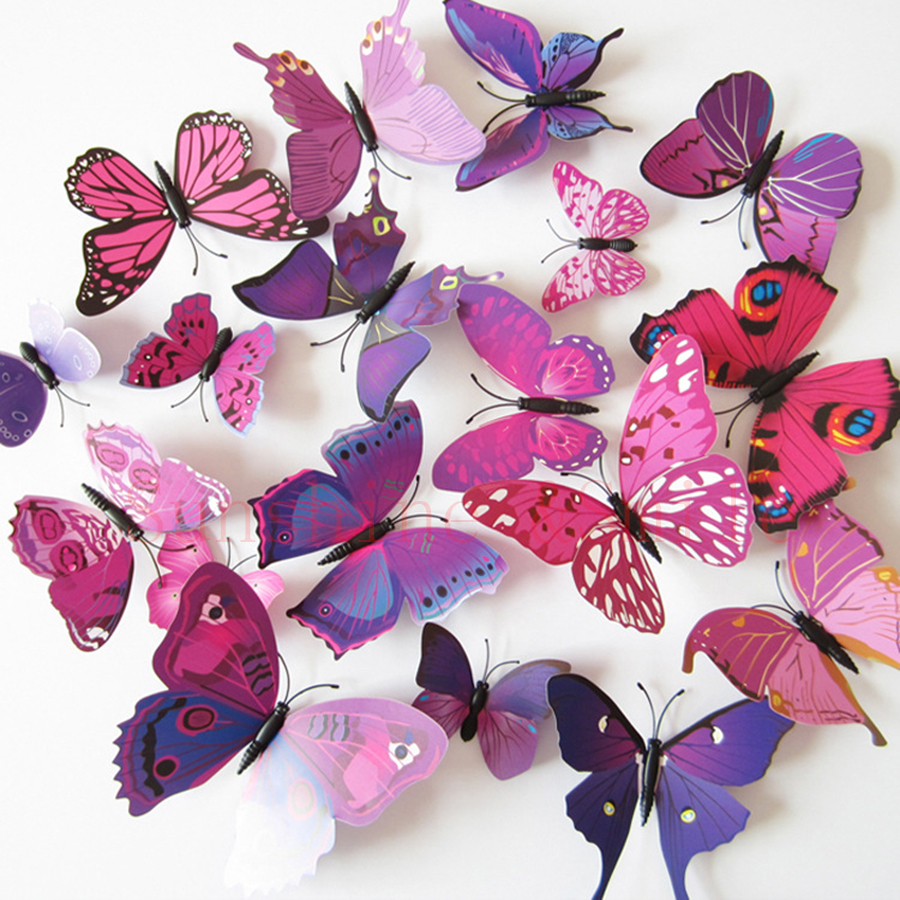 12 Pcs/Lot PVC Butterfly Decals 3D Wall Stickers Home Decor Poster for Kids..